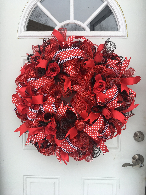 Valentines Day Wreaths For Front Door Valentines Deco Mesh Wreath