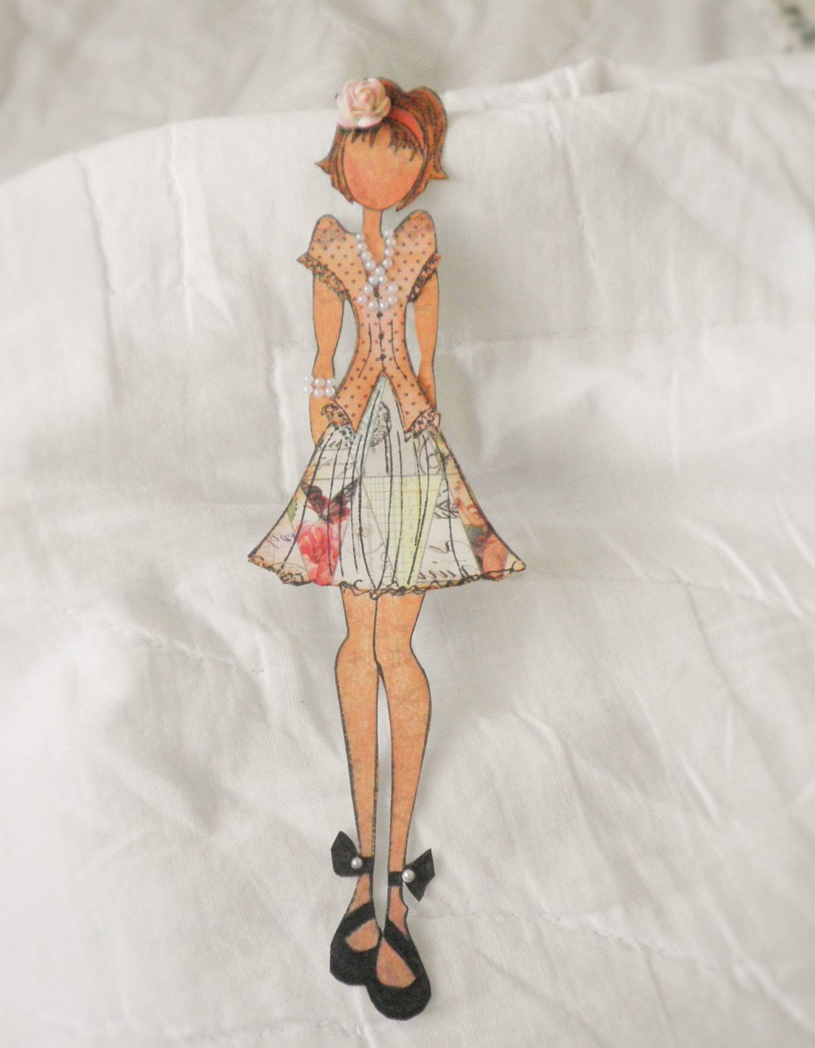 Handmade Beautiful Prima Julie Butterfly Dress Paper Doll Embellishment by lyoncountry on Etsy