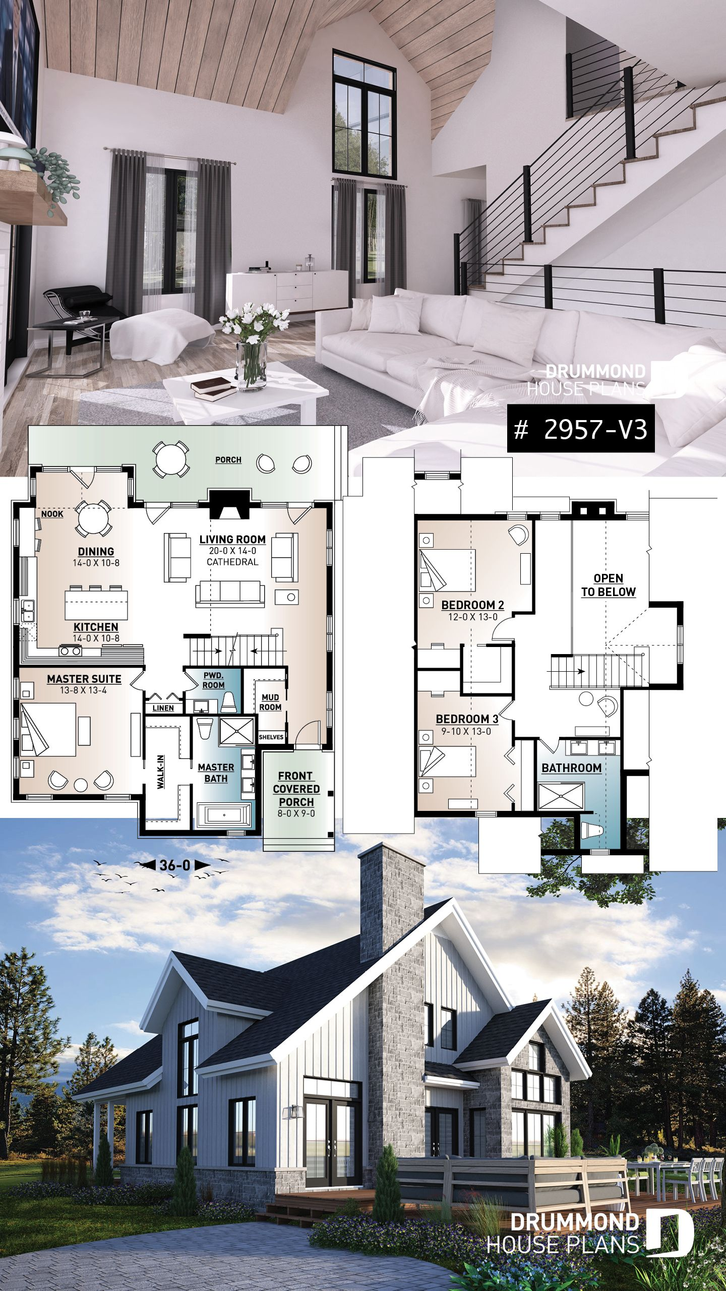 Discover The Plan 2957 V3 The Touchstone 3 Which Will Please You For Its 3 Bedrooms And For Its Modern Craftsman Styles Small Cottage House Plans Craftsman House Plans Cottage Plan