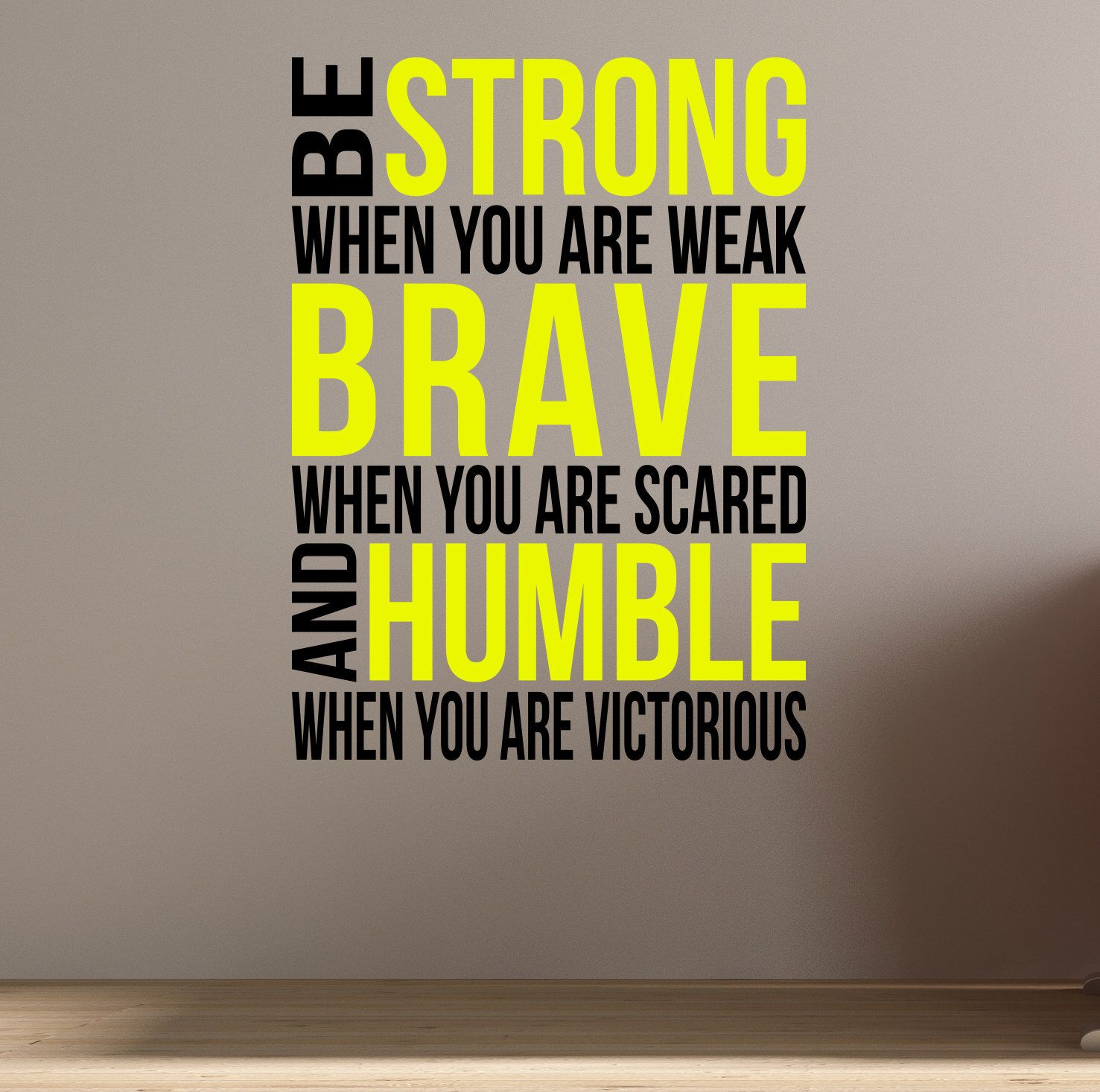 Be Brave. Be Strong. Wall Fitness Decal Quote for Gym Kettlebell ...