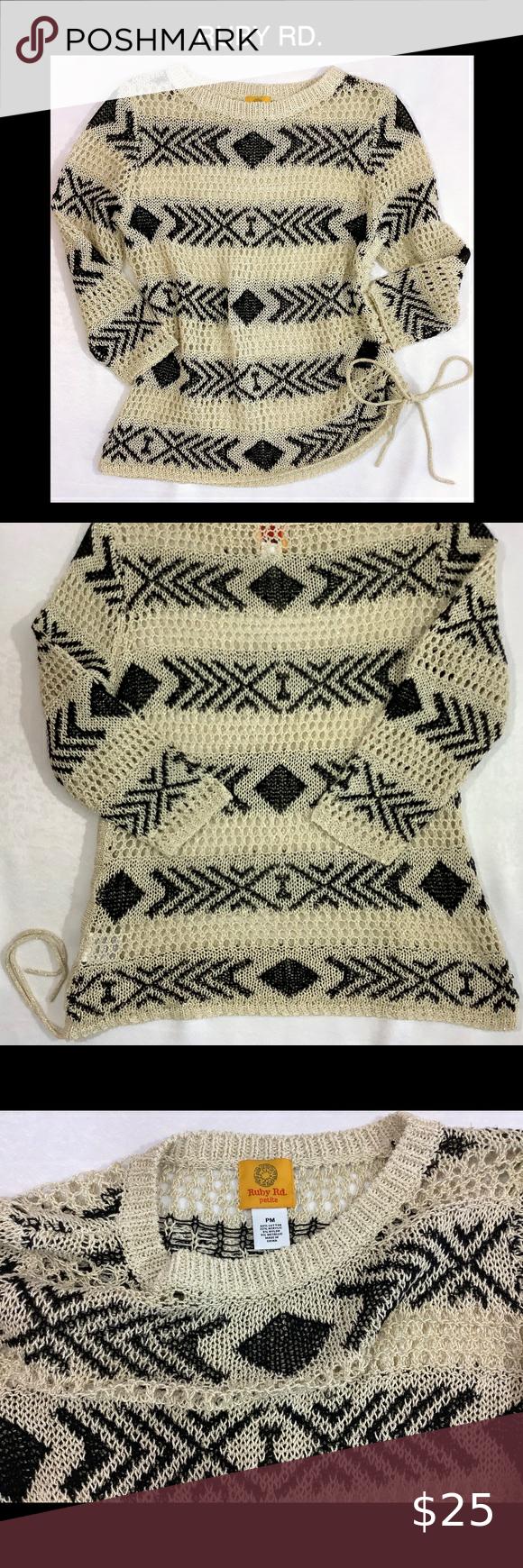 Photo of Ruby Rd. Open Knit Tribal Print Medium Sweater 😍 Ruby Rd. Open Knit Tribal Pr…