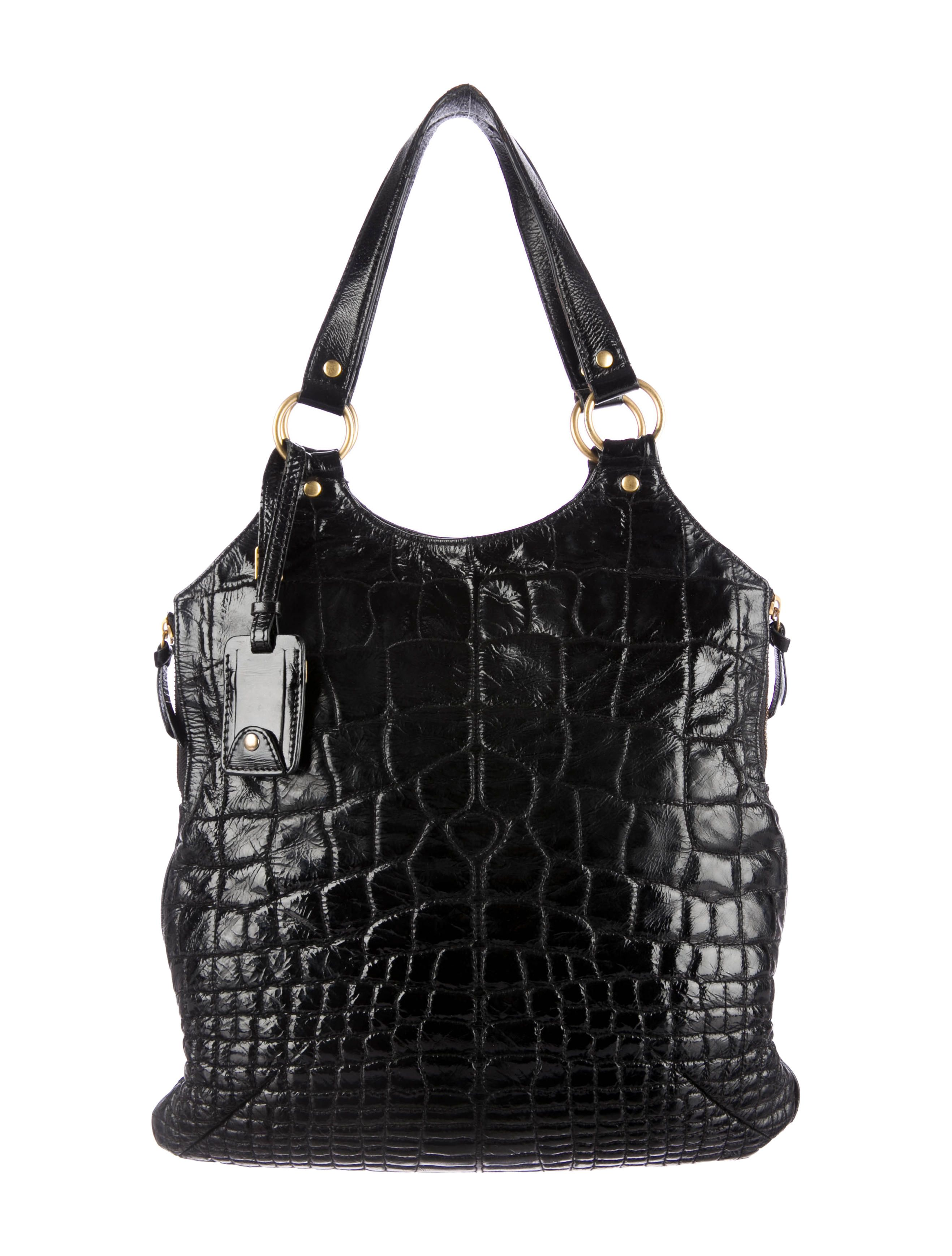 Black Yves Saint Laurent patent leather Tribute tote with gold-tone  hardware, dual flat 1f1ba3ee94