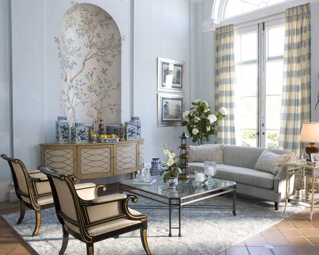 Wohnzimmer Neoklassische Dekorationen Mobel Hellblau Beige Miroir