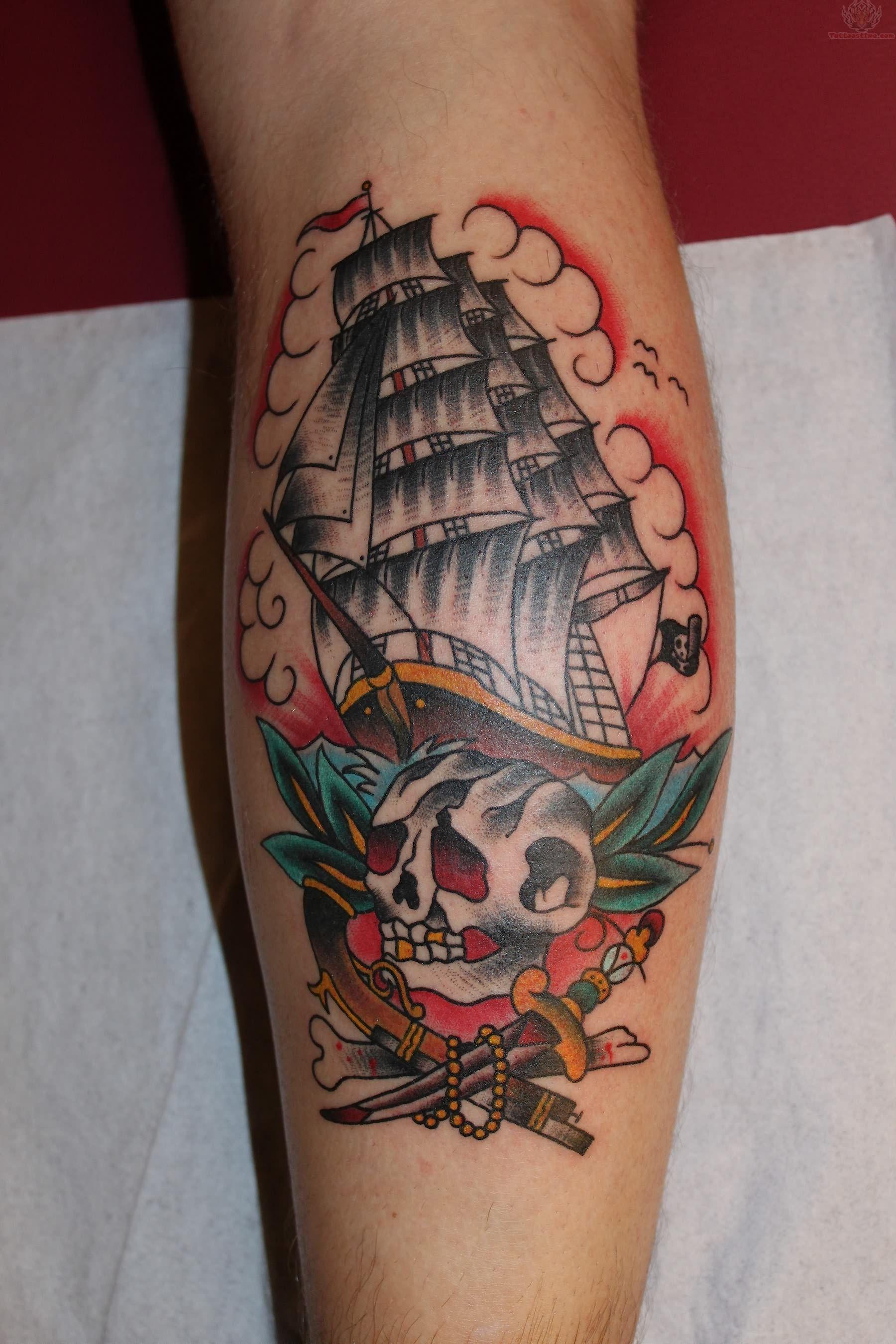 Old School Pirate Tattoos : school, pirate, tattoos, Traditional, Nautical, Tattoo, Tattoo,, Pirate
