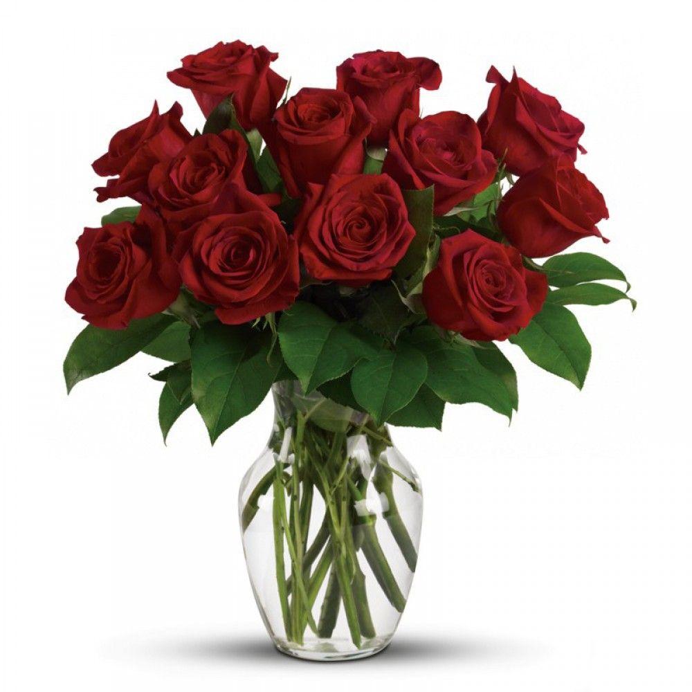 A Dozen Red Naomi Roses In Vase Flower Vase Arrangements Rose Floral Arrangements Flowers