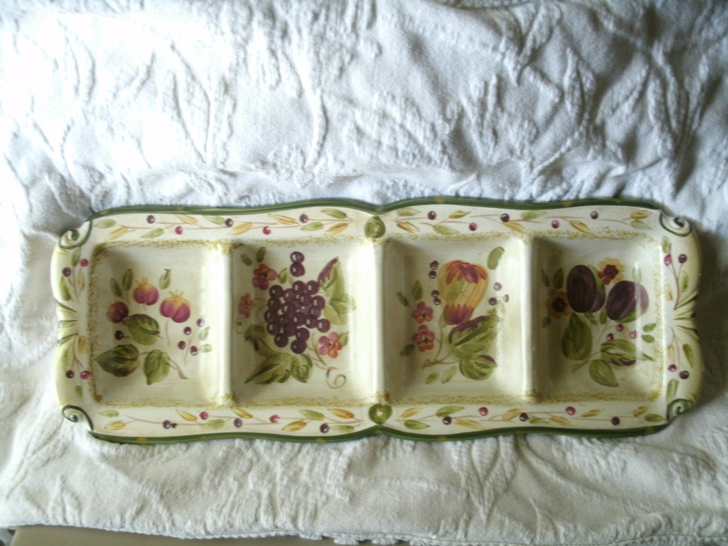 La Toscana 4 Part Relish Dish by Pamela Gladding in Beige and Green ...