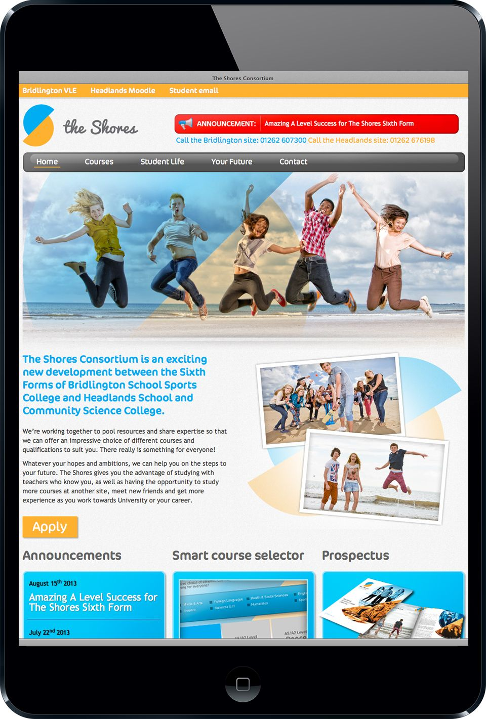 Website created as part of a new brand for The Shores Consortium by Sowden & Sowden