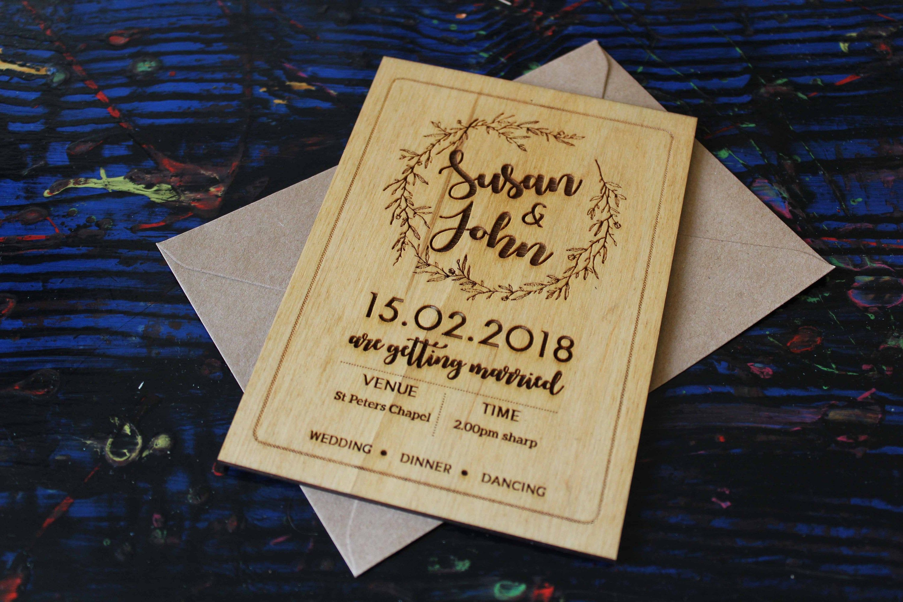 Sweethearts Wood Engraved Wedding Invitations Invites Pack of 10