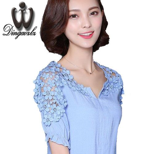 >> Click to Buy << S-4XL Long style Fashion Women blouse Plus size Clothing fashion female Hollow out Floral lace Tops Short sleeve Casual shirt #Affiliate