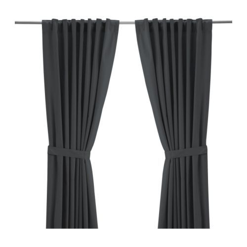 Ritva Curtains With Tie Backs 1 Pair Gray Gray Grey Curtains And Room