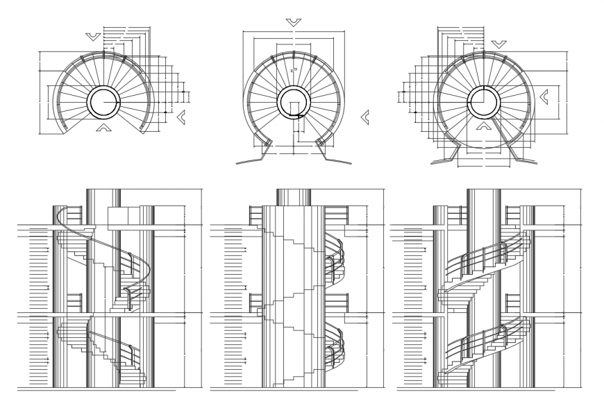 Spiral Stairway Detail Elevation And Plan 2d View Autocad File Stairways Detailed Drawings Brick Detail