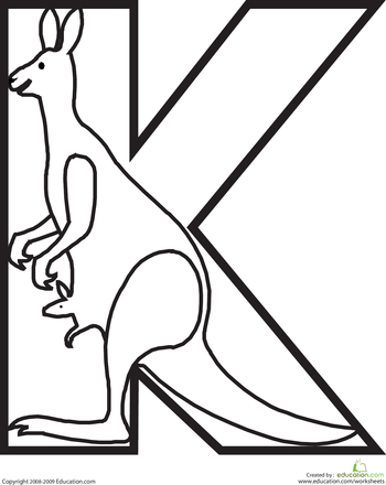 Letter K Coloring Page | Pinterest | Animal alphabet, Worksheets and ...
