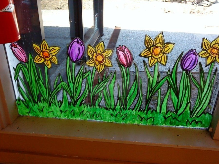 Would Love To Paint These Flowers On Our Front Windows For Spring Summer