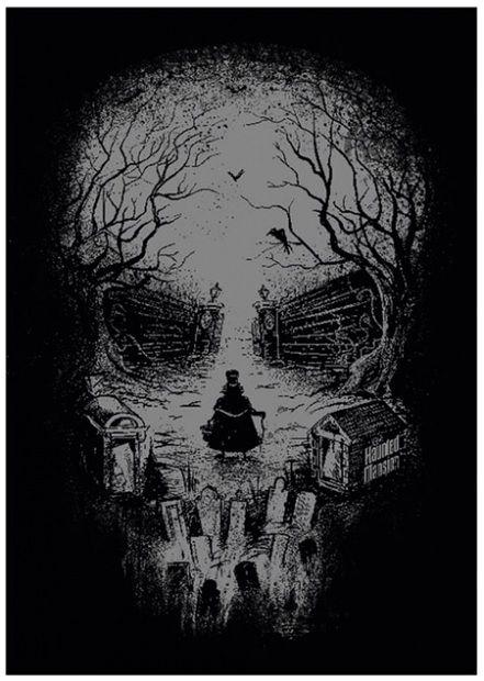 Disneyland Hunted Mansion 45th anniversary skull poster