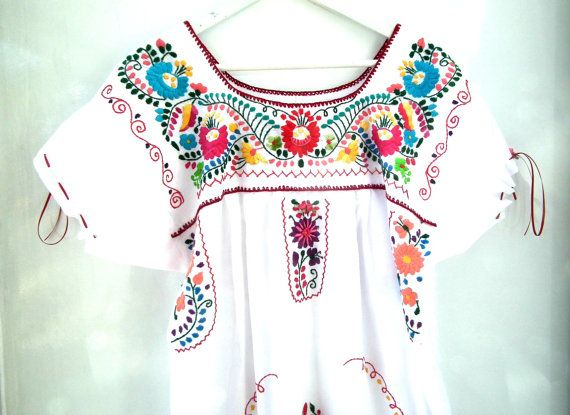Mexican dressWhite embroidered dressExotic summer by ZazaofCanada