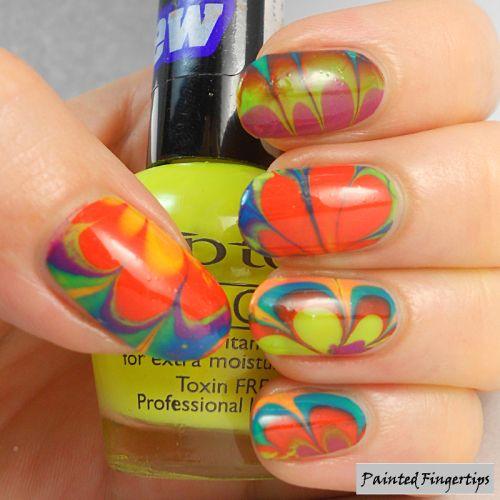 Painted Fingertips   Neon water marble