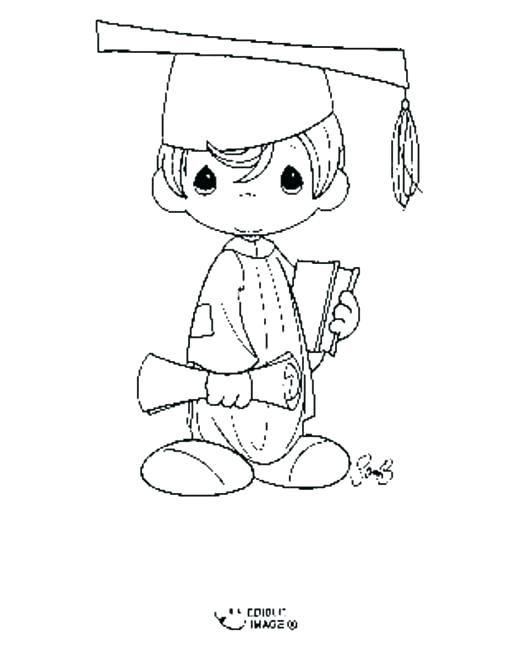 graduacion para colorear para precious moments con toga