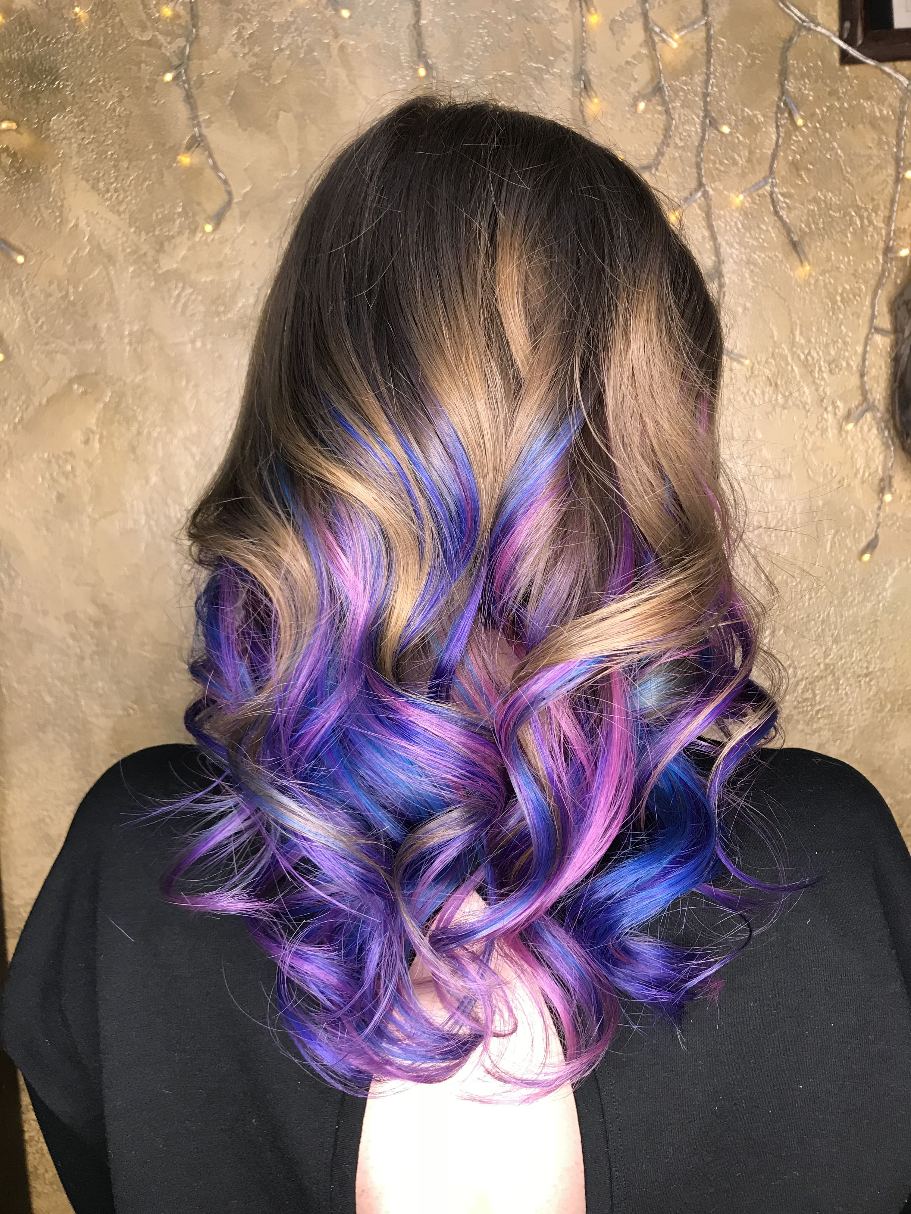 Hair Ombre pink and blue