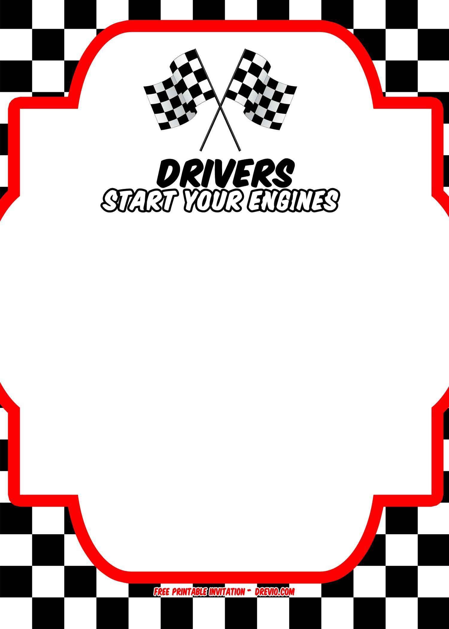 Download Free Printable Race Car Invitation Templates