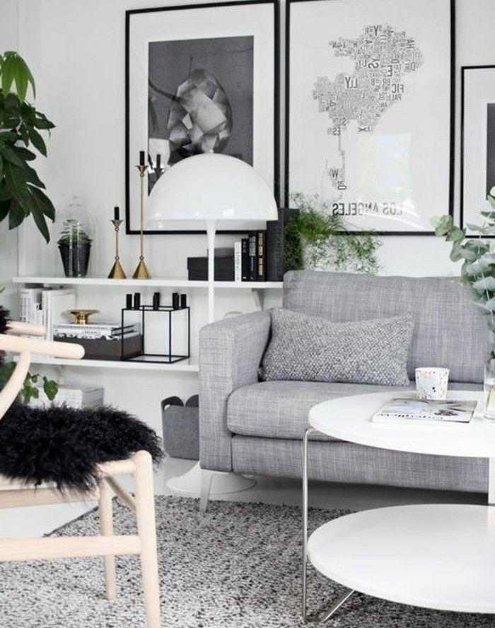 Un salon en gris et blanc, c'est chic! Voilà 82 photos qui en témoignent | Salon gris et blanc ...