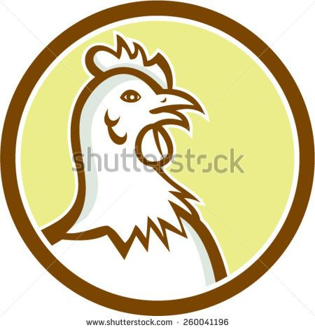 Illustration Of A Chicken Hen Head Viewed From Side Set Inside Circle On Isolated Background Done In Carto Chicken Illustration Chicken Logo Retro Illustration