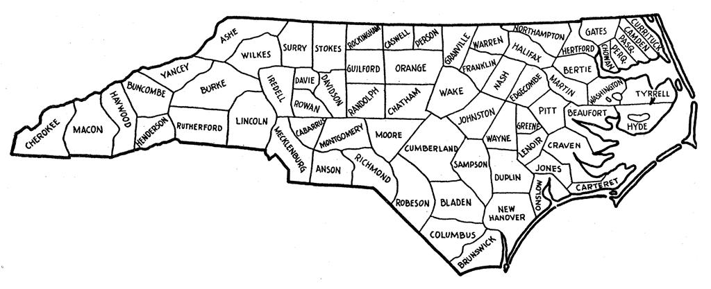 North Carolina County Map Nc County Map North Carolina Counties