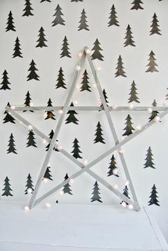 Houten kerstster van maar liefst 1 meter met pom-pom verlichting. De ...