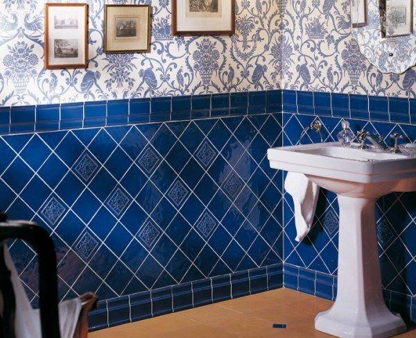 Badezimmer Fliesen Blau-Wand Gestaltung-Keramik | Wohnideen ...