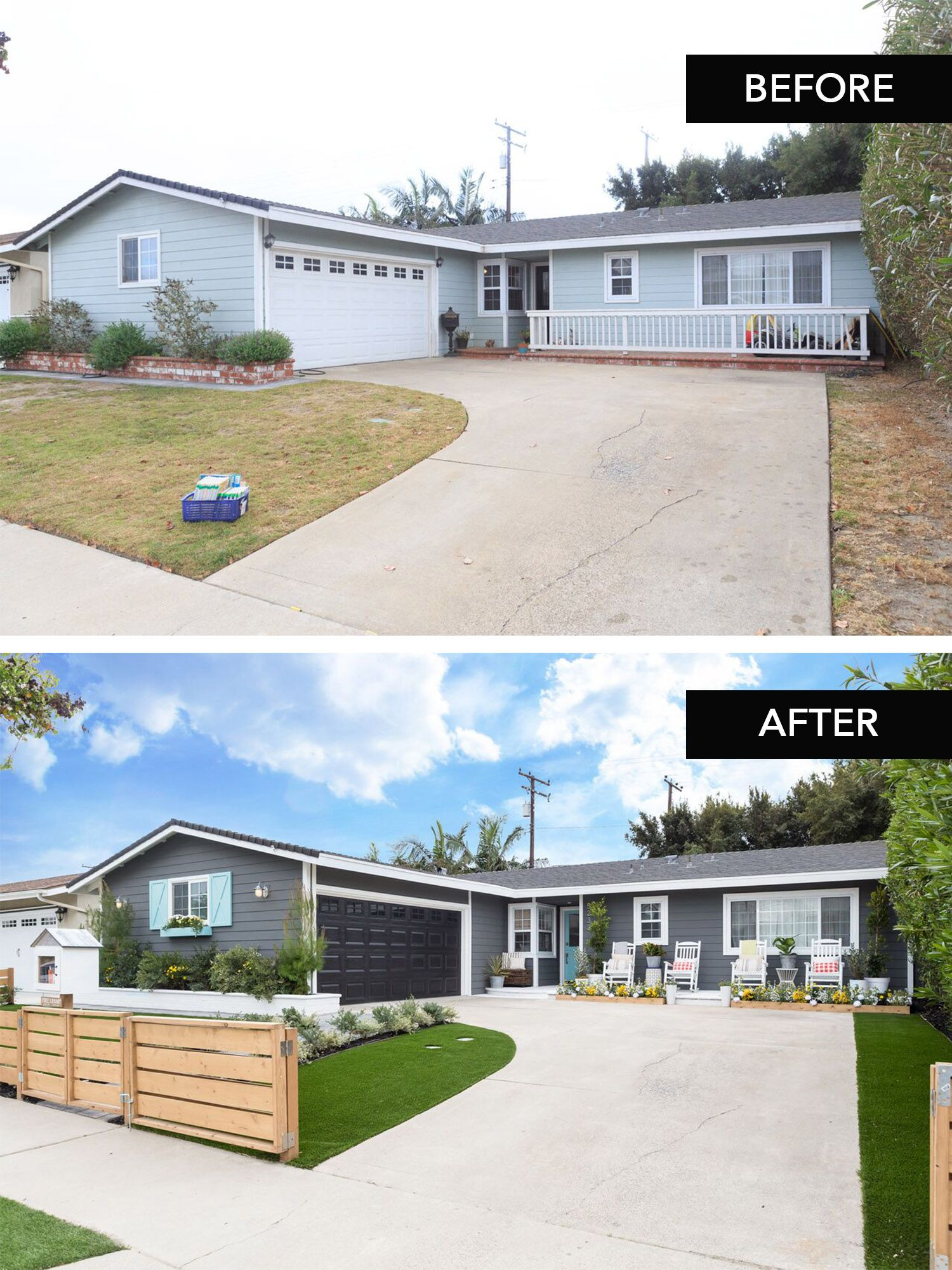 A Stunning Before After Transformation By Jasmine Roth From Hgtv S Hiddenpotential Exterior House Renovation House Exterior Home Exterior Makeover Modern backyard makeover hgtv