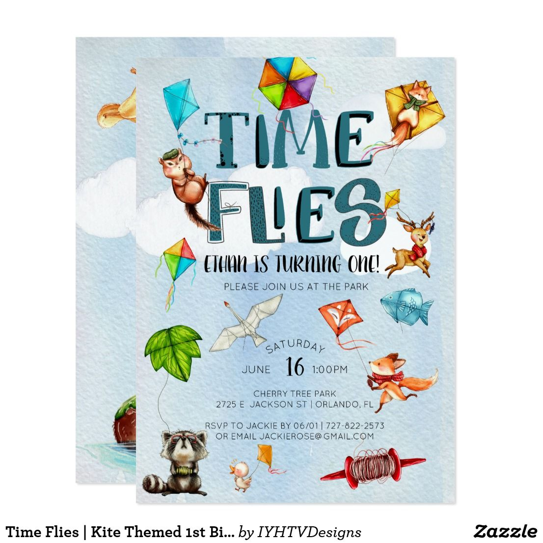 Time Flies Kite Themed 1st Birthday Party Invitation Zazzle Com Kite Birthday Party Kite Party 1st Birthday Parties