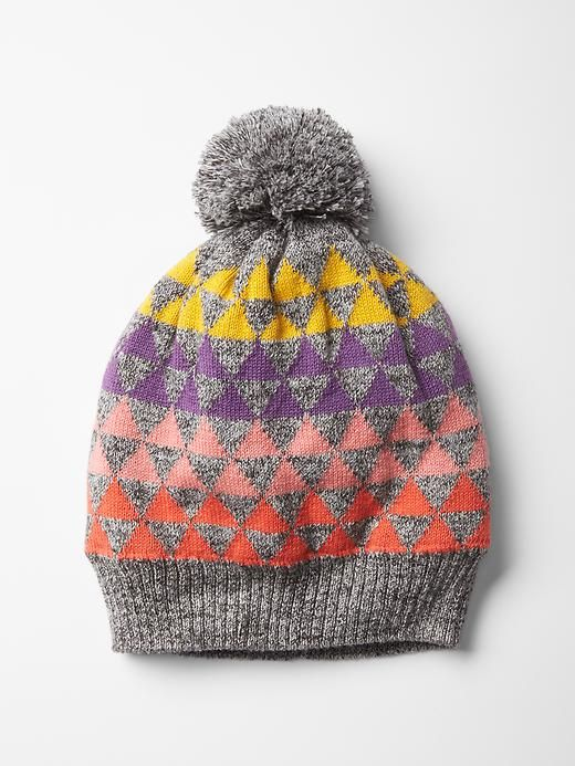 Geometric fair isle pom-pom beanie Product Image | Clothes for ...