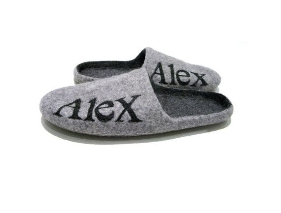 Felted mens slippers with name  Grey house by FeltingbyEglut, $69.00