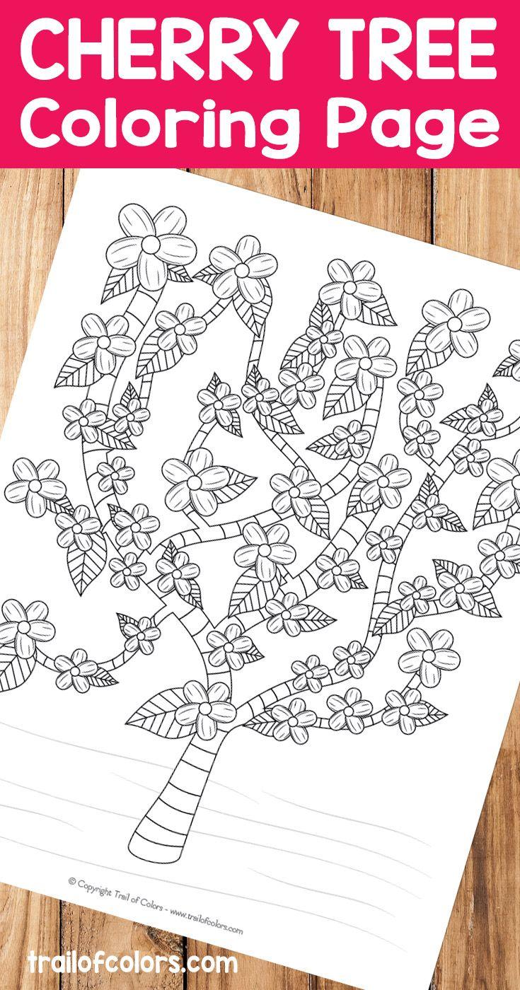 Free Printable Cherry Tree Coloring Page | Colorear, Montón y Dibujo