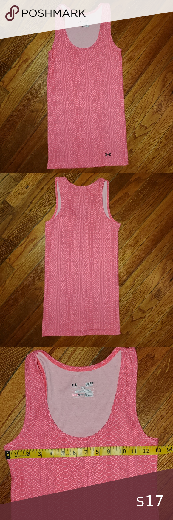 Under Armour heatgear snakeskin tank Like new excellend condition  Size small but runs a little small, it is snug    Pink snakeskin   Measurements are in pics above     #0202 Under Armour Tops