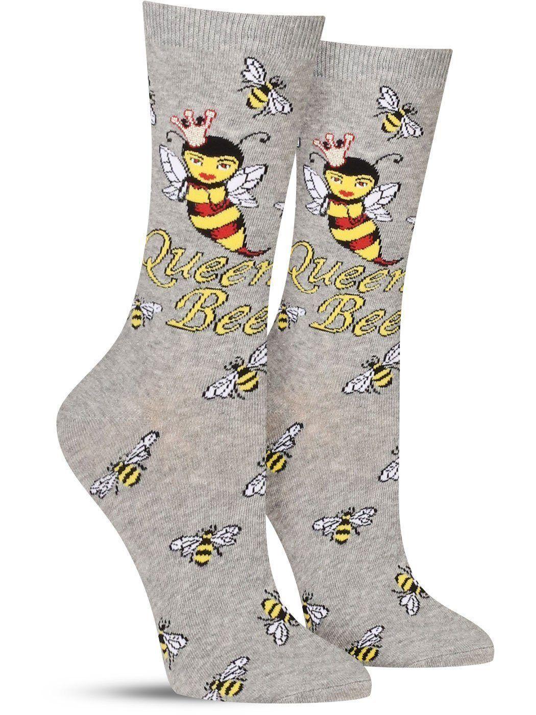 Queen Bee Socks Womens In 2020 Bee Sock Novelty Socks Woman Queen Bees