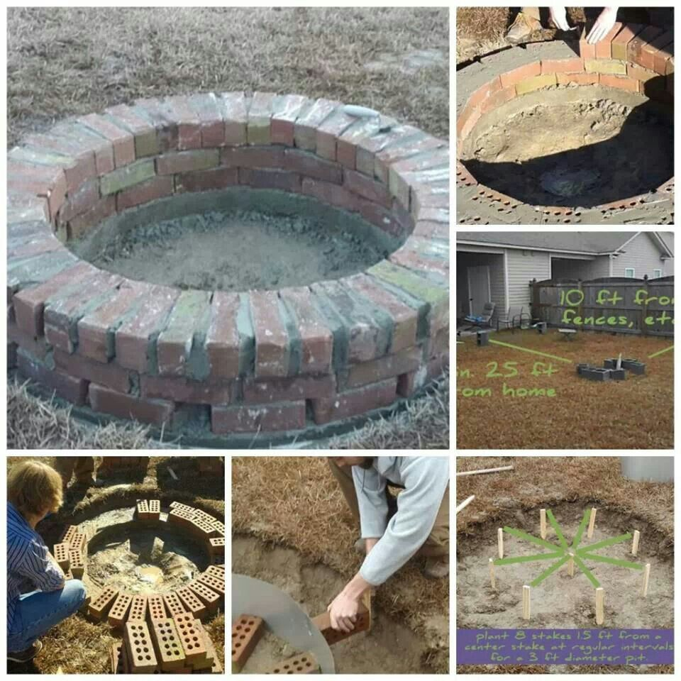 firepit of bricks with breath holes for abode pinterest