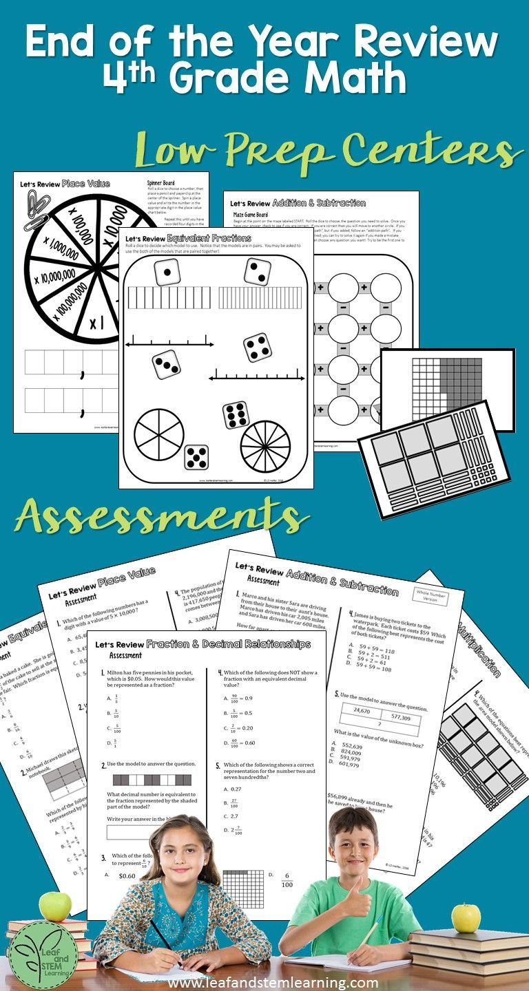 End of the Year Review for Fourth Grade Math   Common cores, Math ...
