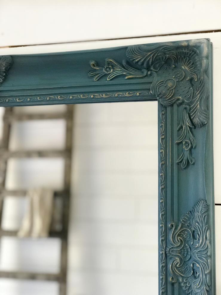 Dark Blue Wall Mirror Framed Farmhouse Mirror Vintage Style