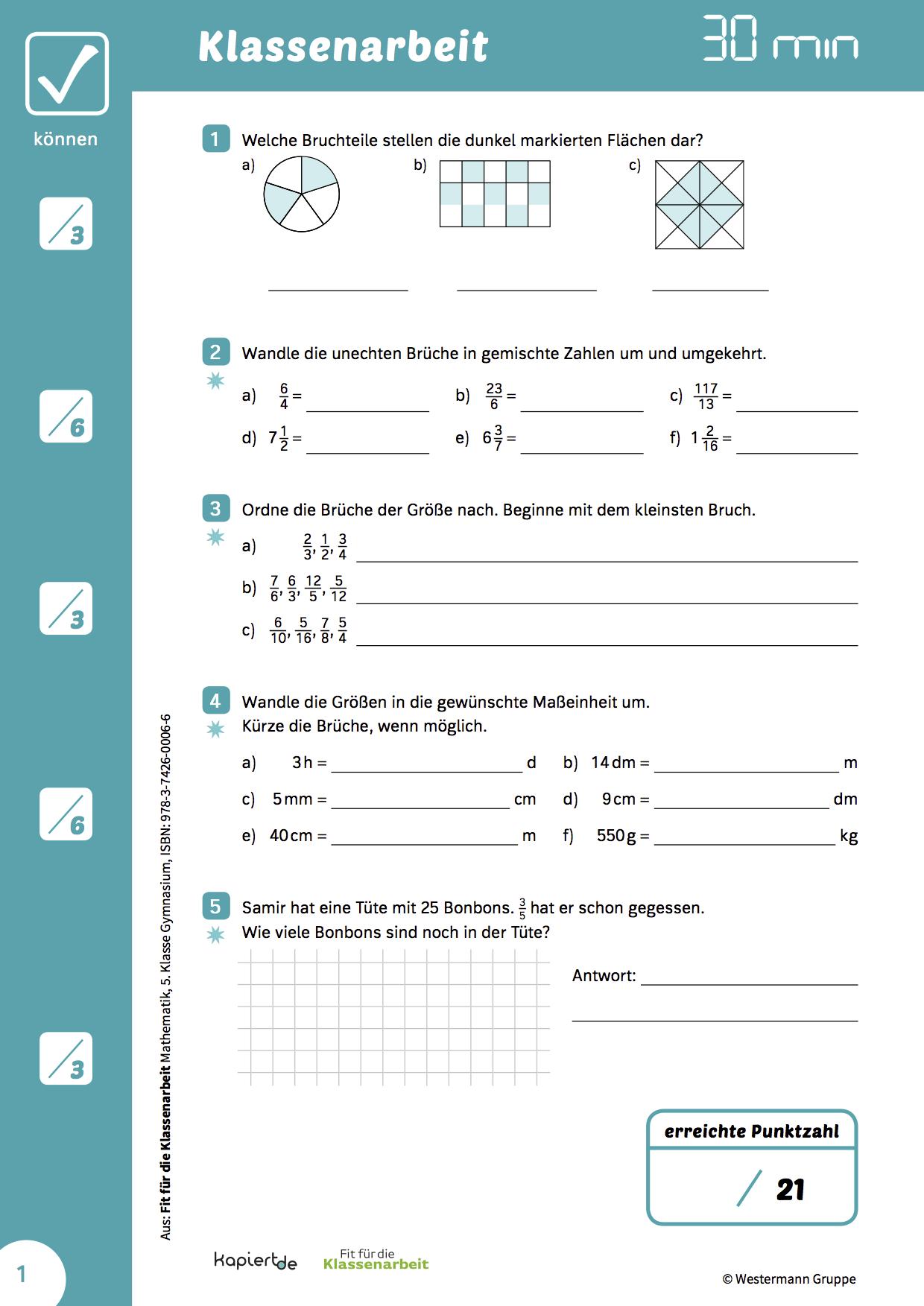 Mathearbeit Bruchrechnung 20   Nachhilfe mathe, Klassenarbeiten ...