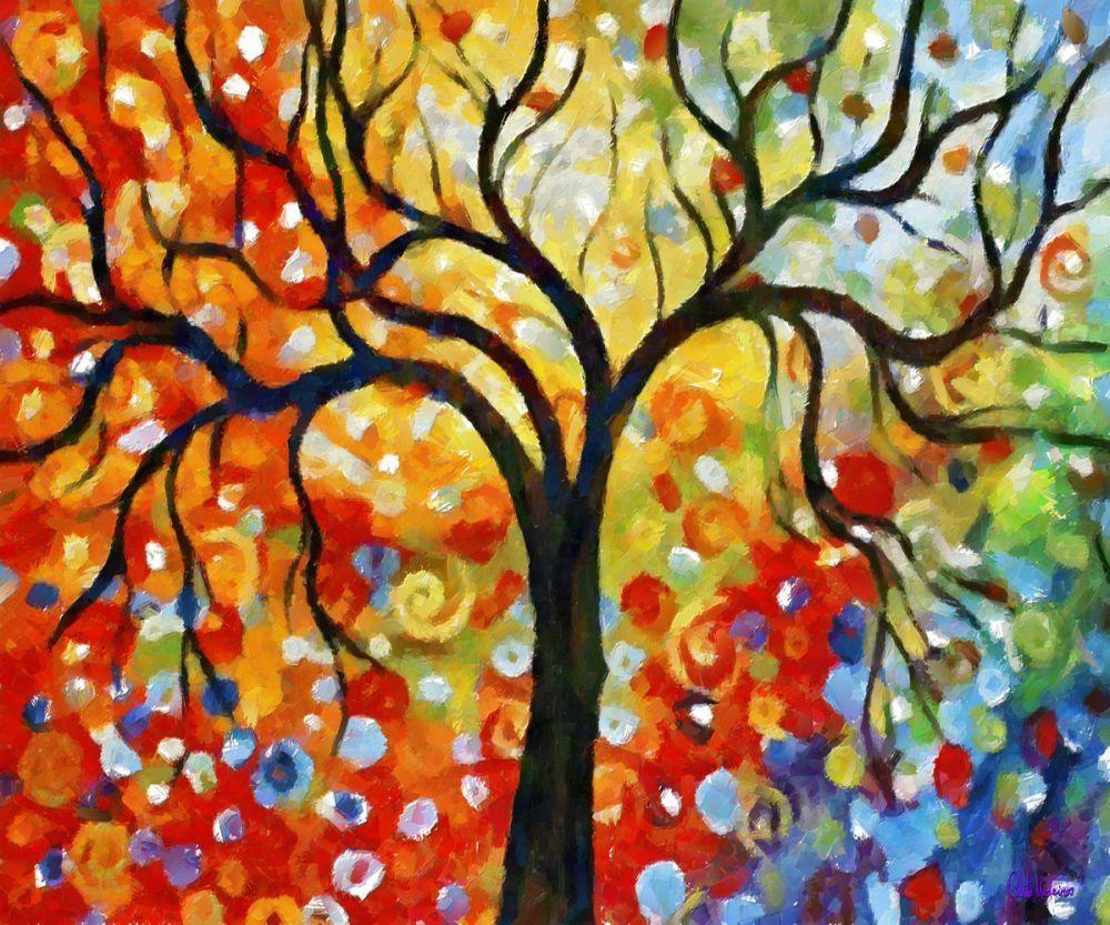 100% Hand Painted Canvas Oil Paintings Rainbow Tree Wall Art ...