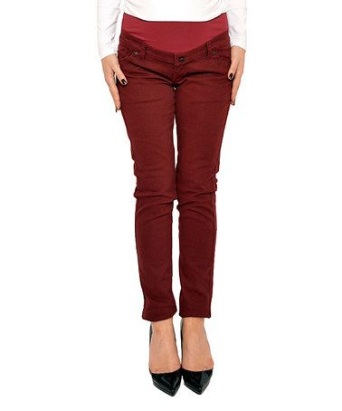Look what I found on #zulily! Burgundy Over-Belly Maternity Skinny Pants - Women & Plus #zulilyfinds