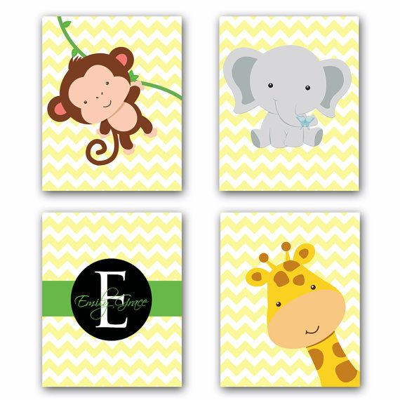 Baby Name Art Personalized Art SET Jungle Animals Giraffe Monkey ...