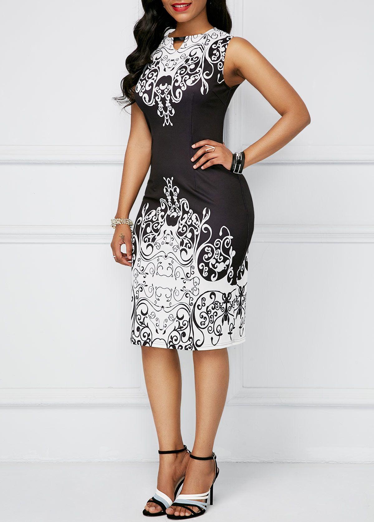 fde67ed4834 Sleeveless High Waist Black Printed Dress
