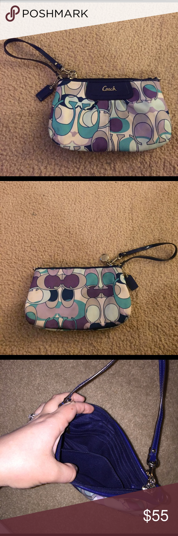 Authentic large Coach wristlet ! Large wristlet from coach in great condition. Inside pocket has 8 card slots and another pocket on the opposite side from the card slots. Zipper is in perfect condition. May have minor stains from minimal use, but not noticeable at all. Accepting offers Coach Bags Clutches & Wristlets