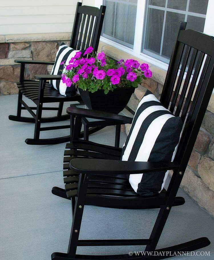 Black And White Theme For Front Of House Rocking Chair With Table And Flowers Front Porch Decorating Summer Porch Decor Rocking Chair Porch