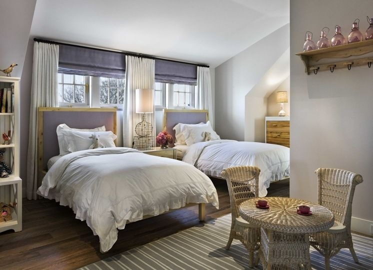 Twin Beds In Front Of Windows Stationary Panels With Fabric