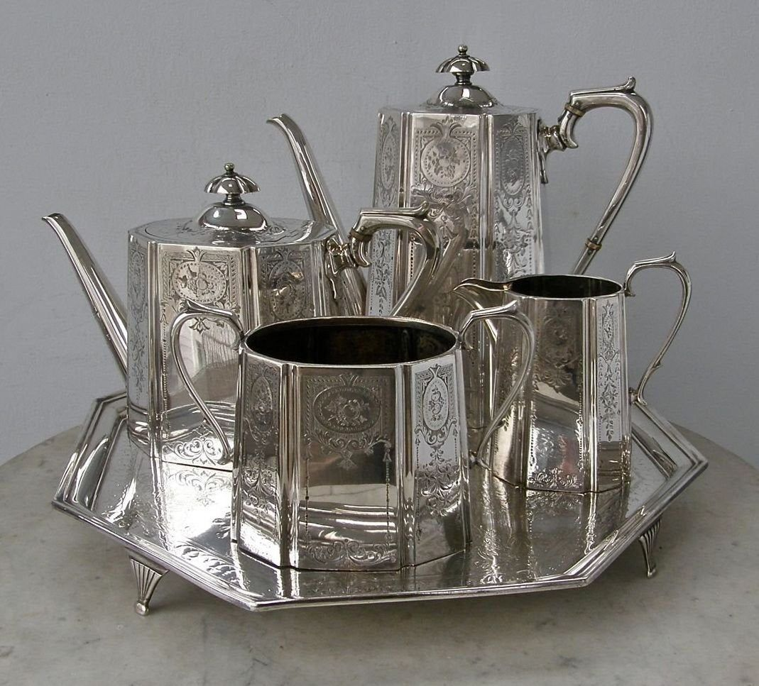 TEA & COFFEE SET 4 Piece English Silver Plate Coffee and