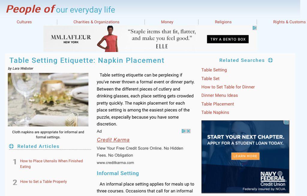 //peopleof.oureverydaylife.com/table-setting-etiquette-  sc 1 st  Pinterest & http://peopleof.oureverydaylife.com/table-setting-etiquette-napkin ...