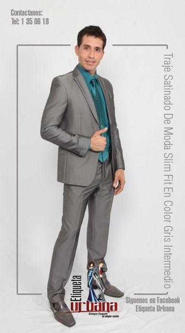 4e057a55b1630 Traje Satinado De Moda Slim Fit En Color Gris Intermedio, te lo presentamos  en la
