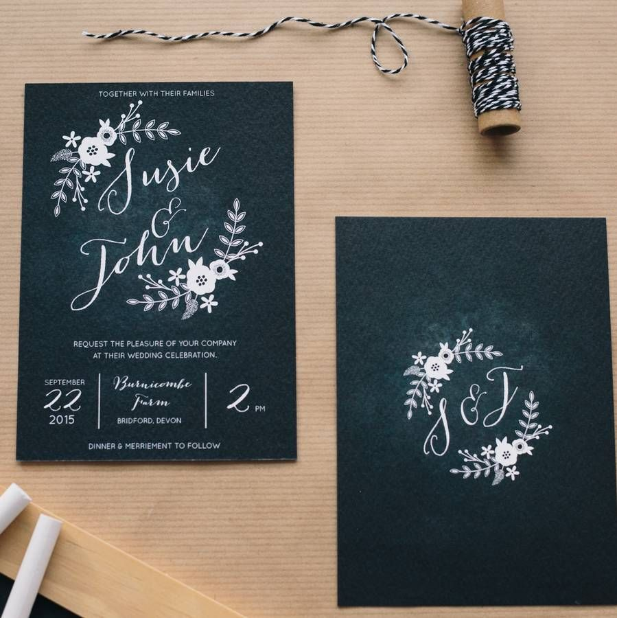 Wedding Branding Ideas: Chalkboard Wedding Invitations By Sincerely May